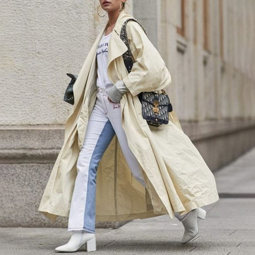 Casual Solid Color Large Lapel Loose Long-sleeved Trench Coat