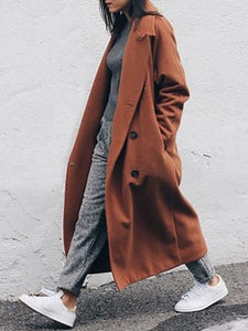 Casual Solid Color Lapel Double-breasted Long Coat
