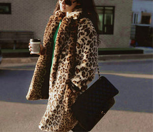 Ladies Sexy Leopard Long Trench Coat Winter Cotton Jacket