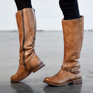 Fashion Women Low Heel Long Knight Boots