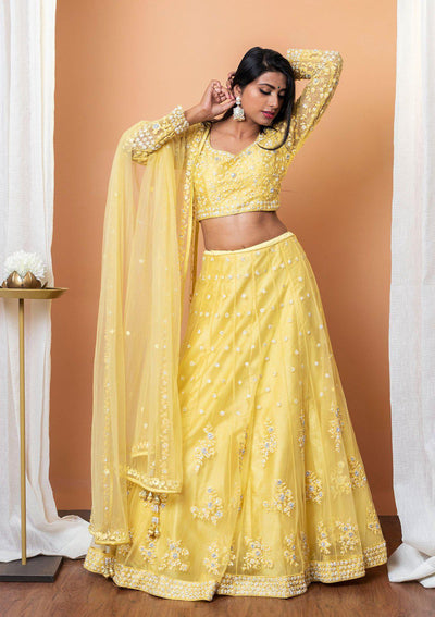 Yellow Threadwork Net Designer Lehenga-Koskii