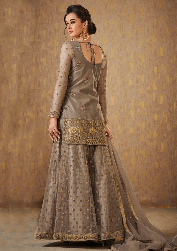 Beige Stone and Zari Work Net Designer Sharara