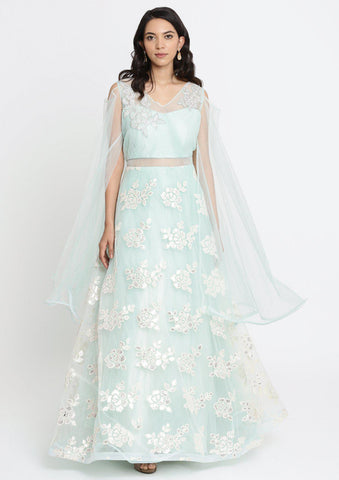 Sea Green Cutdana Net Designer Gown-Koskii