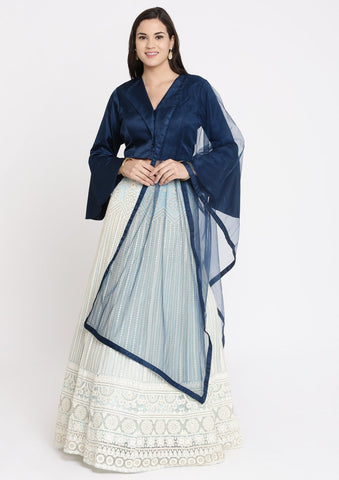 Sea Green and Navy Blue Chikankari Net Designer Lehenga-Koskii