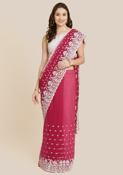 Maroon Threadwork Net Designer Saree-Koskii