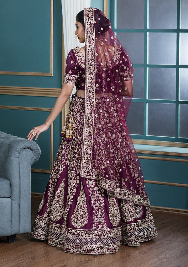 Koskii Wine Red Satin Silk Designer Lehenga