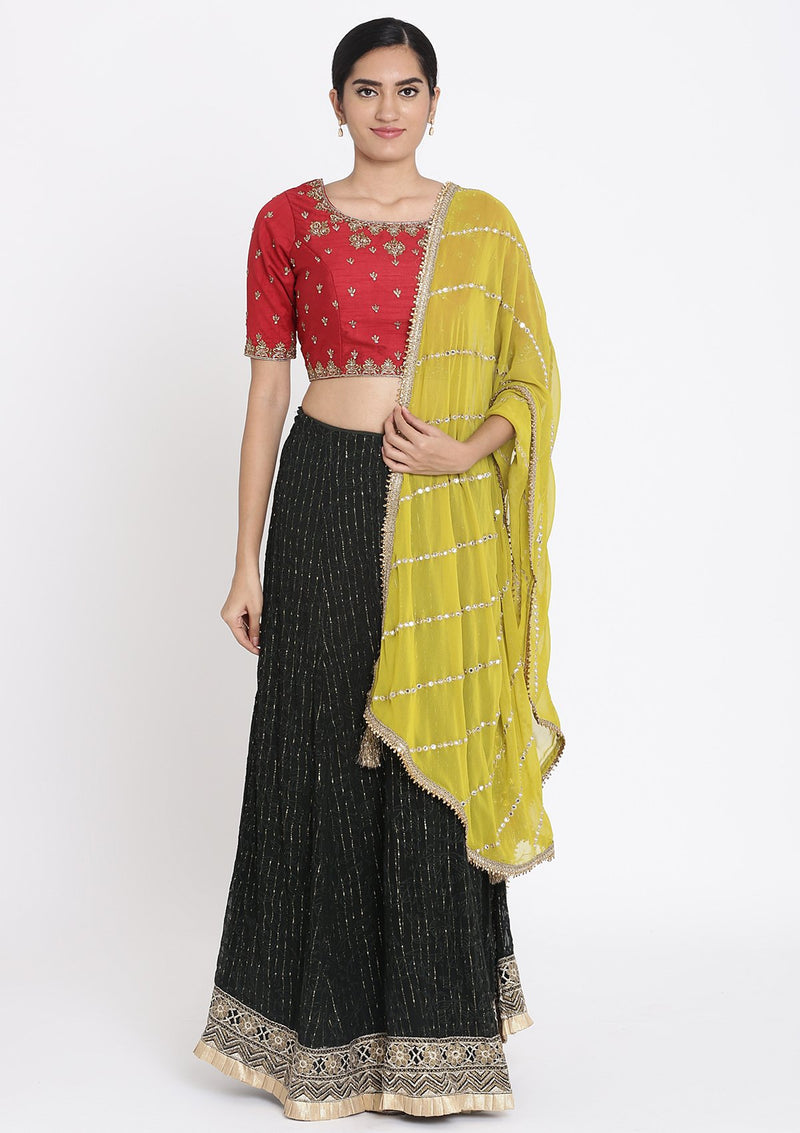 Bottle-Green And Red Zariwork Georgette Designer Lehenga