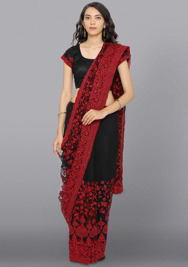 Black Threadwork Net Designer Saree