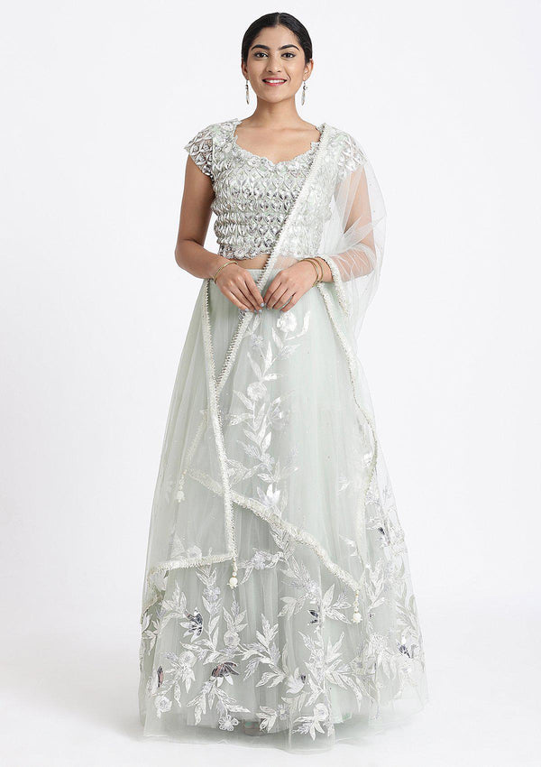 Grey Sequinned Net Designer Lehenga-Koskii
