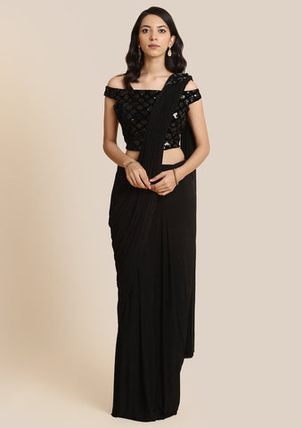 Black Sequins Lycra Designer Saree