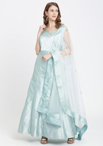Sea Green Swarovski Satin Designer Gown-Koskii