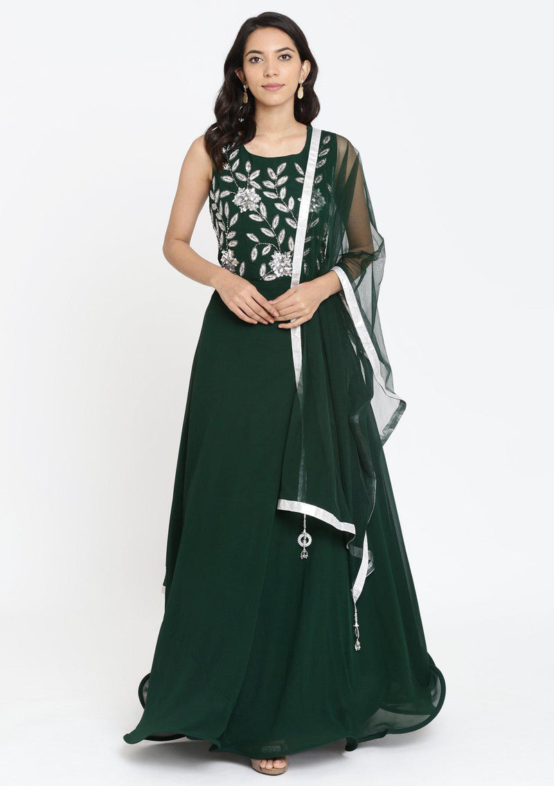 Bottle Green Cutdana Georgette Designer Gown