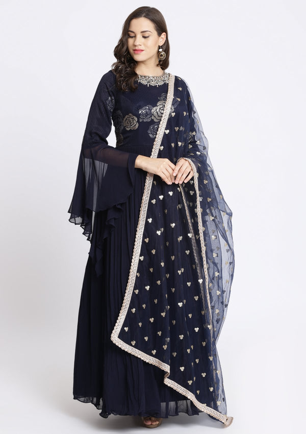 Navy Blue Sequinned Georgette Designer Gown