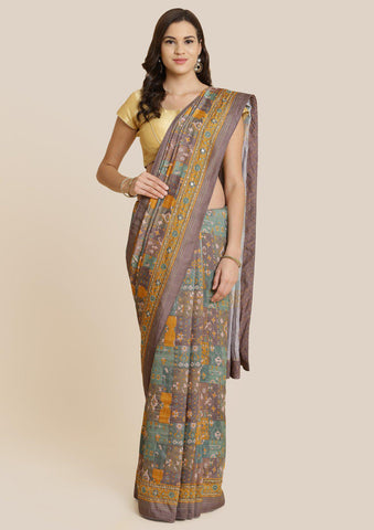 Hazel Green Cutdana Art Silk Designer Saree