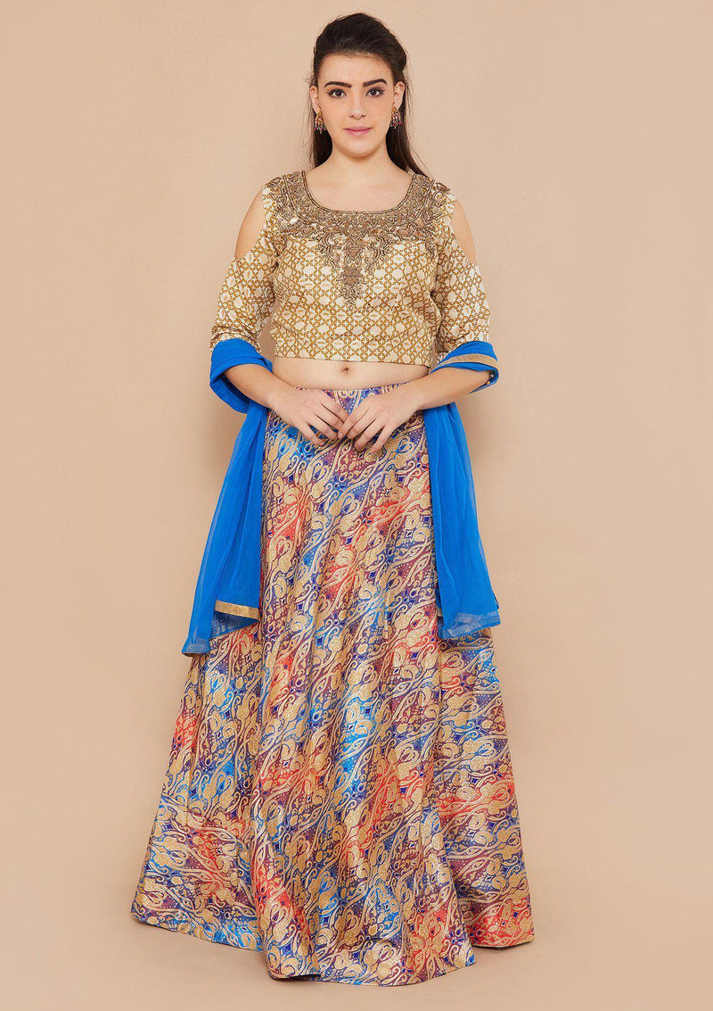 Blue and Cream Brocade Designer Lehenga