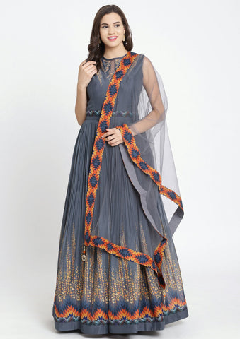 Dark Grey Print Satin Designer Gown-Koskii