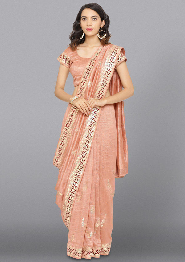 Peach Gotapatti Art Silk Designer Saree