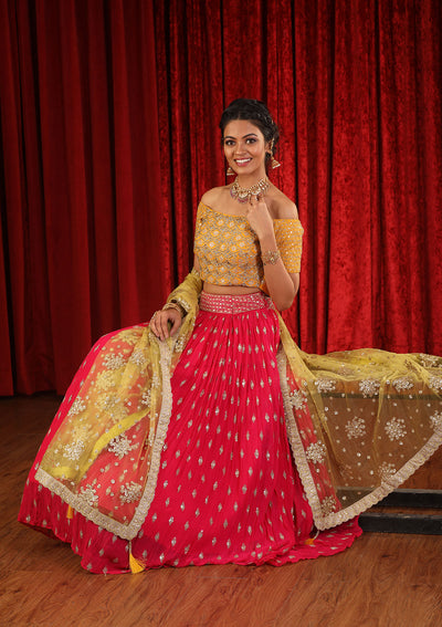 Fuschia and Yellow Cutdana Georgette Designer Lehenga-Koskii