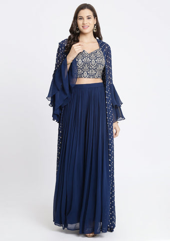 Dodger Blue Zariwork Georgette Designer Crop Top Set-Koskii