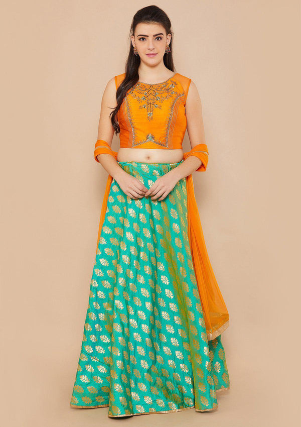 Koskii Zardozi Brocade Green Orange Lehenga
