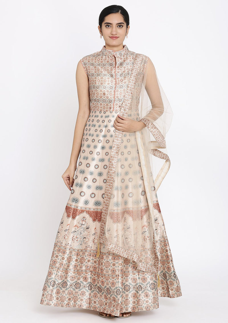 Peach Stonework Raw Silk Designer Gown