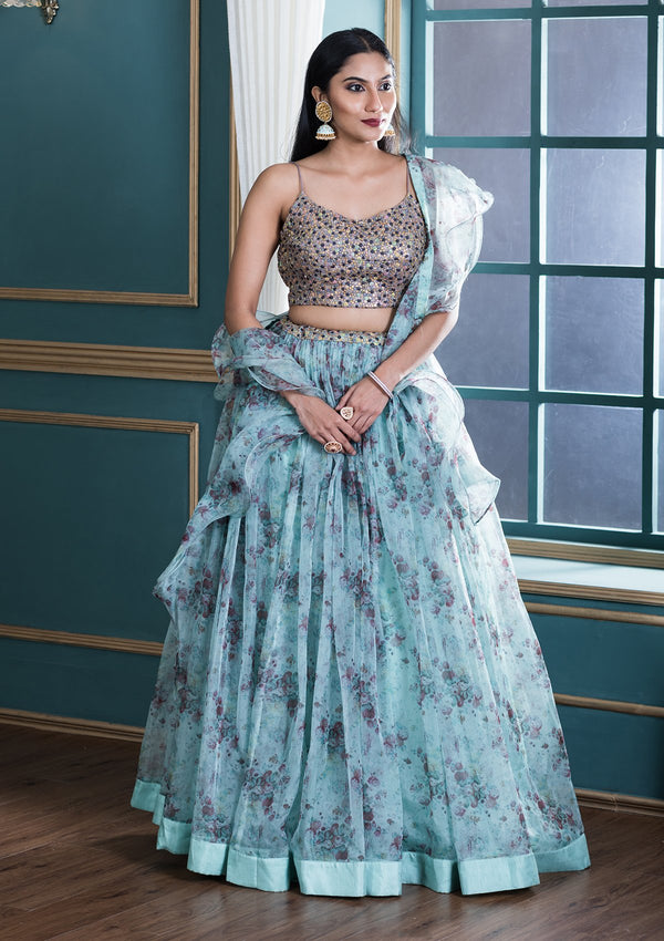 Sea Green Printed Designer Lehenga