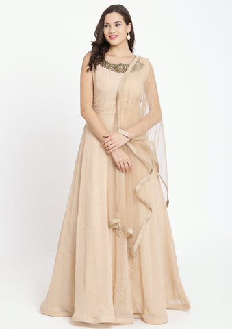 Beige Badla-work Georgette Designer Gown