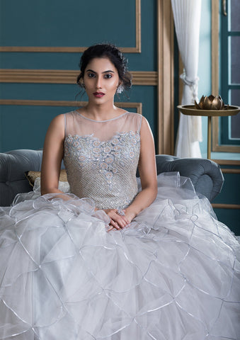 Grey Lace Work Net Designer Gown-Koskii