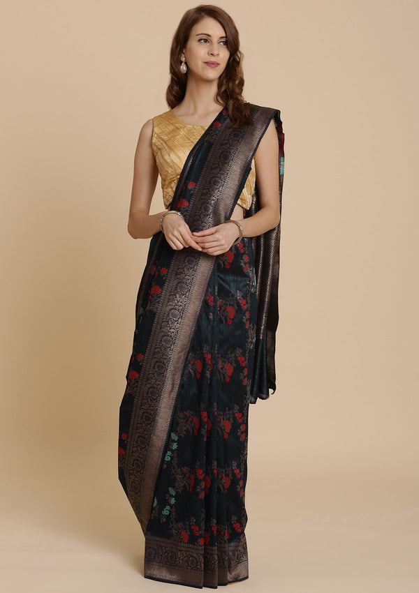Navy Blue Raw Silk Designer Saree