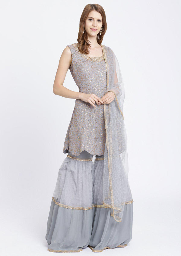 Light Grey Zariwork Georgette Designer Sharara-Koskii