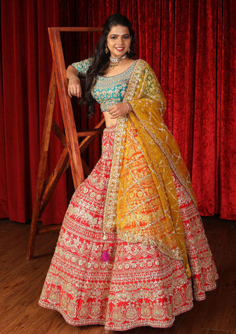 Red Gota Patti Raw Silk Designer Lehenga