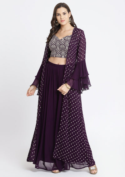 Wine Zariwork Georgette Designer Crop Top Set-Koskii