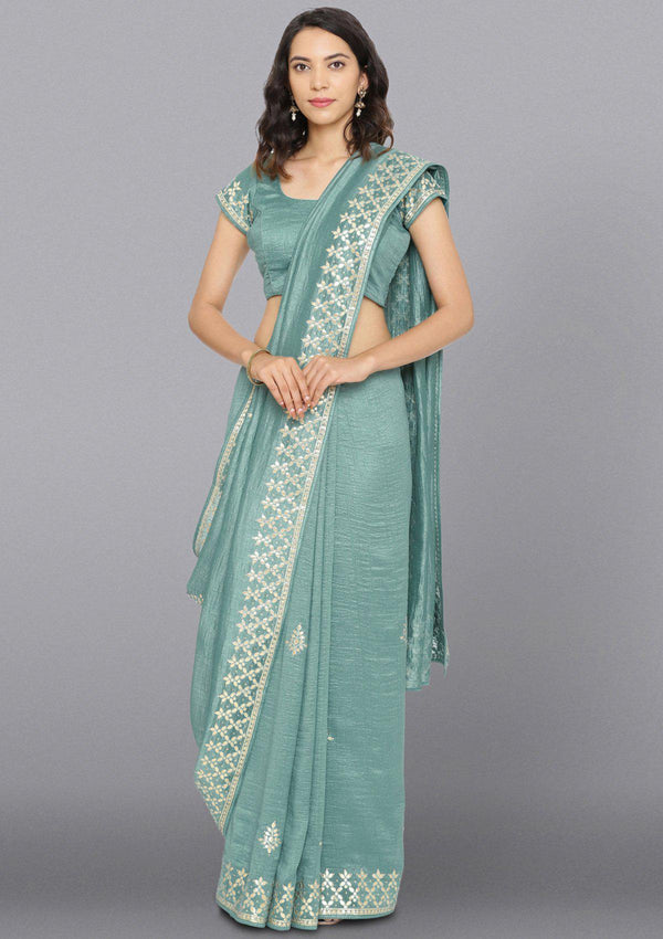 Sea Green Gotapatti Art Silk Designer Saree