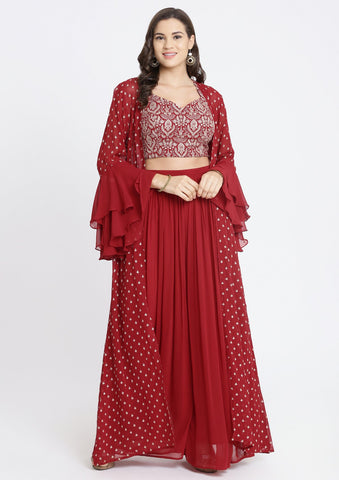 Maroon Zariwork Georgette Designer Crop Top Set