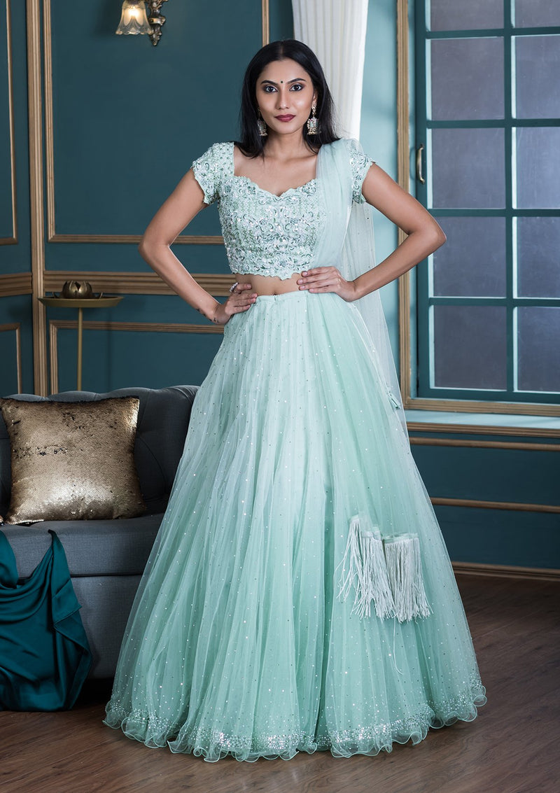 Sea Green Embellished Net Designer Lehenga