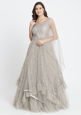 Light Grey Silver Stonework Net Designer Gown-Koskii