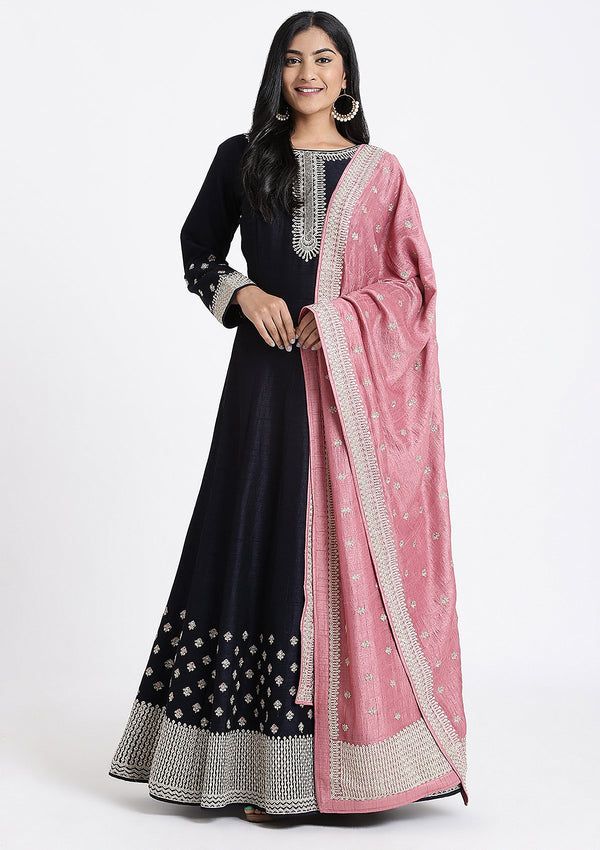 Navy Blue Zari Work Rawsilk Designer Gown