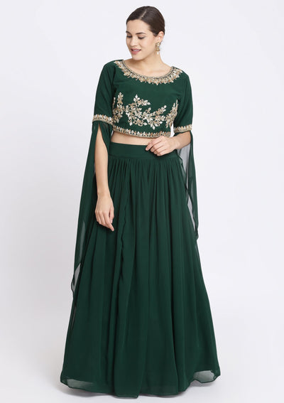 Bottle Green Sequins Georgette Designer Lehenga-Koskii