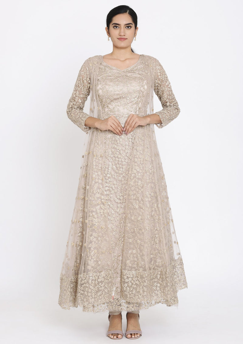 Light Brown Zariwork Net Designer Gown