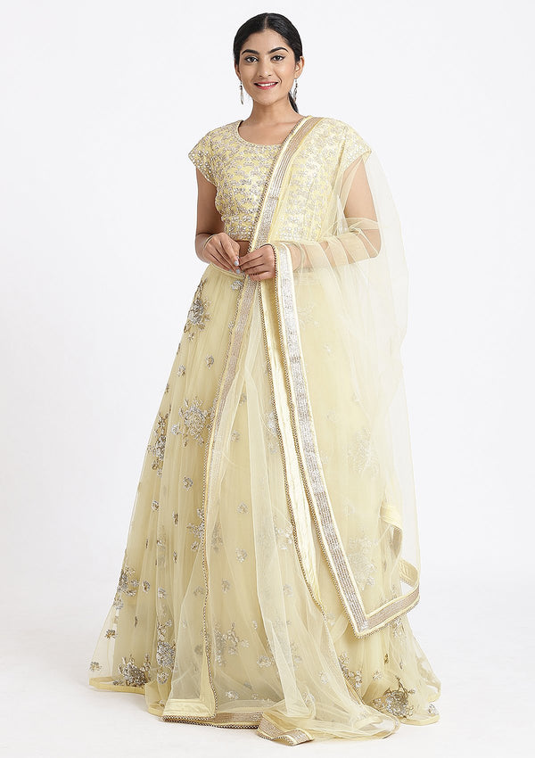 Lemon Yellow Gota Patti Net Designer Lehenga