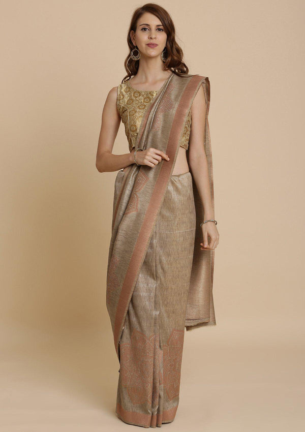 Light Brown Zariwork Raw Silk Designer Saree
