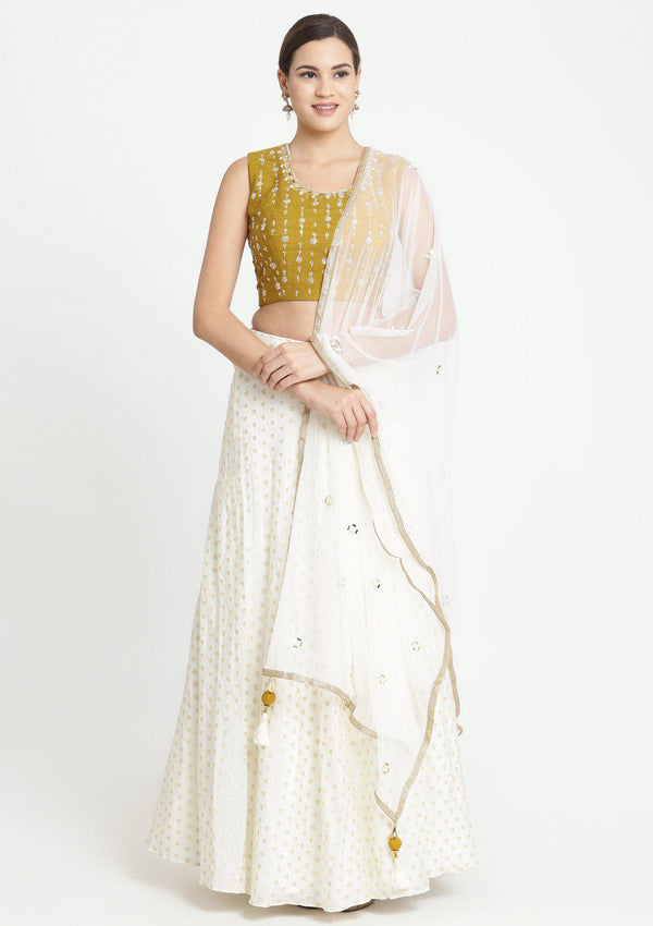 Mustard and Cream Zardozi Chanderi Designer Lehenga-Koskii