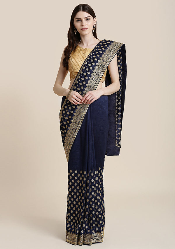 Navy Blue Zariwork Raw Silk Designer Saree
