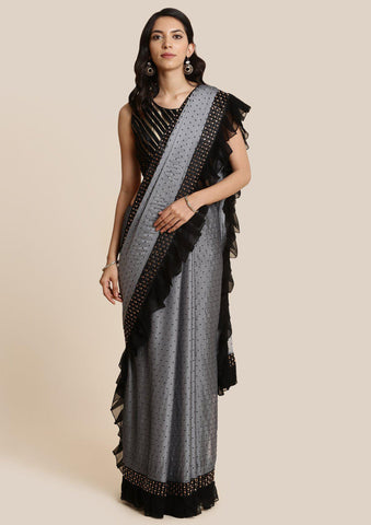 Light Grey Swarovski Georgette Designer Saree-Koskii