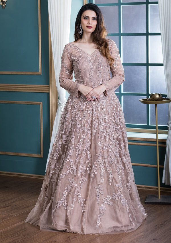 Mauve Pearlwork Net Designer Gown