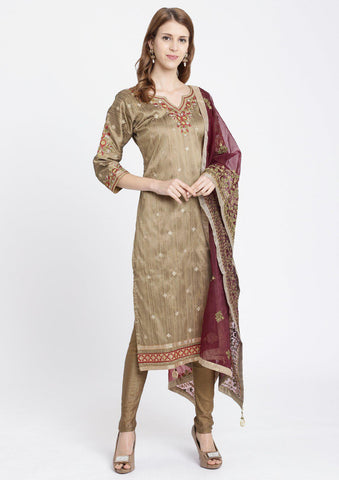 Mehendi Threadwork Rawsilk Designer Salwar Suit