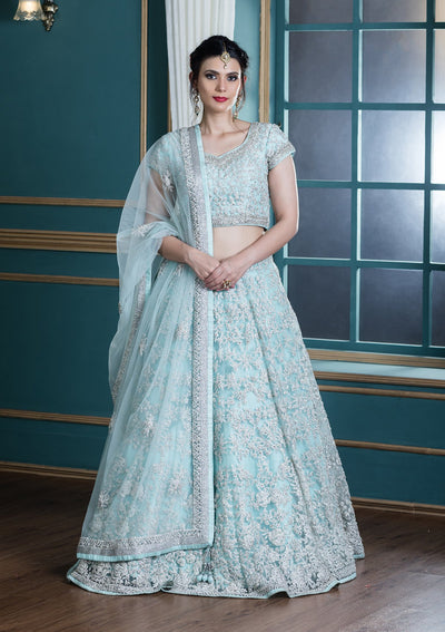 Powder Blue Sequinned Net Designer Lehenga-Koskii