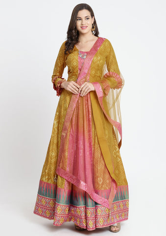 Pink Printed Art Silk Designer Gown