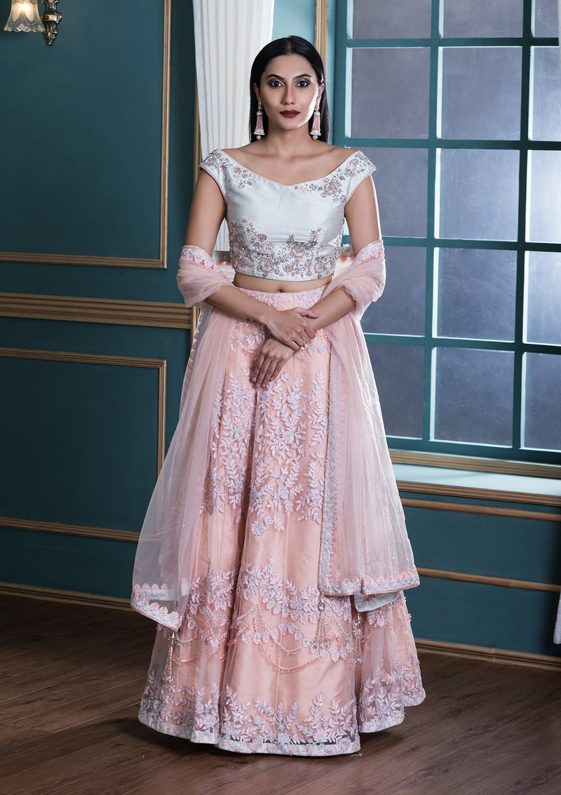 Peach Sequinned Net Designer Lehenga