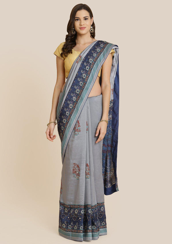 Grey Cutdana Art Silk Designer Saree-Koskii
